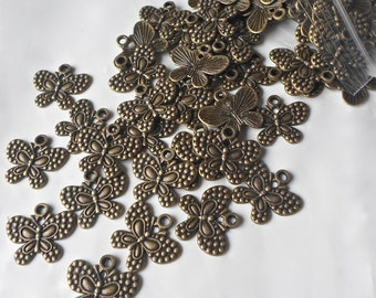 10 X Antique Bronze Butterfly Vintage Steampunk Beads/Charms/Pendants - 25mm CH30
