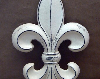 Fleur De Lis FDL Cast Iron Painted Distressed Creamy Off White Classic  Shabby Elegance Wall Decor French Decor, Paris Ecru