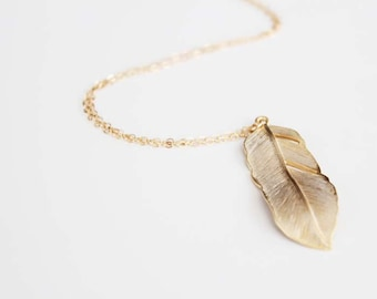 Long Feather Necklace - Gold - Flowing Feather - 30 inch