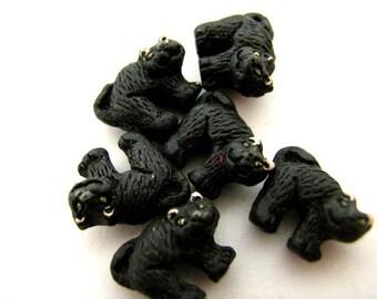4 Tiny Halloween Cat Beads - CB422