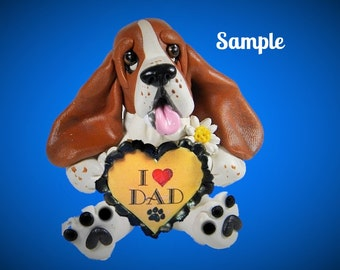 Red Tri Color Basset Hound Dog  Sculpture love DAD OOAK Clay art by Sally's Bits of Clay
