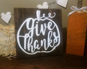 "Rustic ""Give Thanks"" Harvest Pallet Sign"