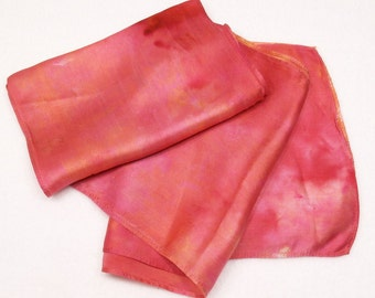 Ice Dyed Silk Scarf Pink Red Gold Rose Garden Colorway SSRGsm1 Hand Dyed Satin Silk Scarf