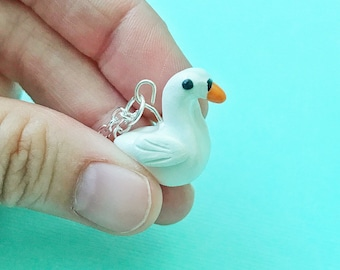 Swan Charm Necklace Polymer Clay