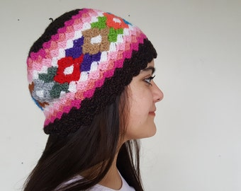 Hand knit hat, Winter hat, Winter beanie hat, Colored winter hat, Handmade colorful skull cap