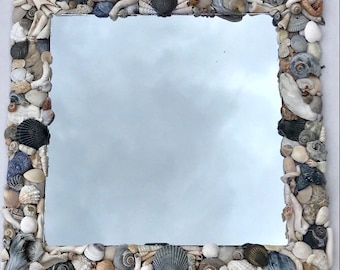 Seashell  Wall  Mirror - Beach  Wall Decor, Hand picked and hand crafted natural Multi-shell mirror