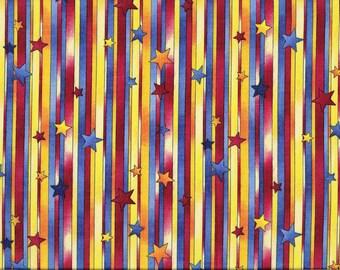 Tissu Coton à rayures et étoiles , pour enfants, jaunes et rouges