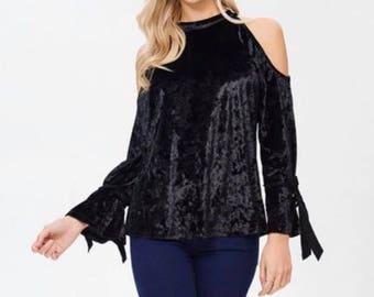Adult Jr.'s Boutique Black Velvet cold shoulder bell sleeve top with tie details