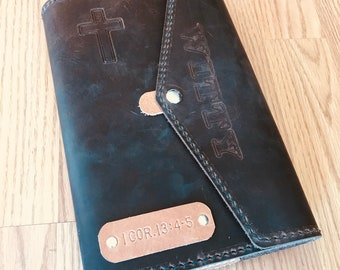 Bible Cover, Leather Bible Cover, Personalized Bible Cover, Bible Case, Custom Leather Bible, Mens Bible, Womens Bible, KJV Bible Included