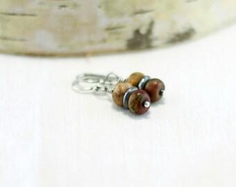 Red Creek Jasper Earrings, Oxidized Sterling Silver Cherry Creek Jasper Earrings Wire Wrapped Stone Earring Jasper Jewelry