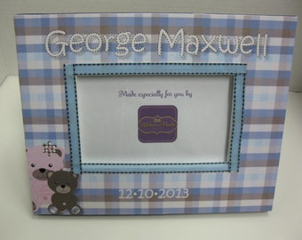 Baby Boy Teddy Bear Personalized Frame