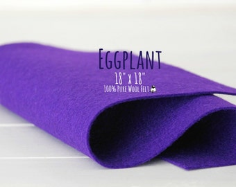 "100% Merino Wool Felt 18"" Square, 100 Percent Wool Felt Large Sheet - 18"" X 18"" - Color Eggplant-3110 - Wool Felt - Dark Purple Wool Felt"