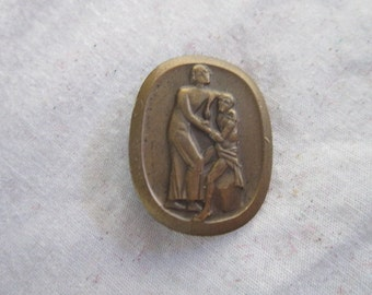 Antique Bronze French Pinback with Women & Boy