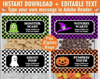 INSTANT DOWNLOAD / edit yourself now / Printable / Treat Bag toppers / Favor Tags / Birthday Party / Halloween / Fall / tag / TBH3