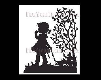 Child Silhouette, Girl Silhouette Pattern, Cross Stitch Pattern, Needlepoint, Silhouettes, Children from NewYorkNeedleworks on Etsy