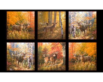 Autumn Surprise Panel 9200-BLA by Elizabeth's Studio Cotton Fabric Deer Fabric