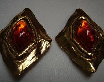 YSL Yves Saint Laurent  Diamond-shaped Amber Grippoix Earrings