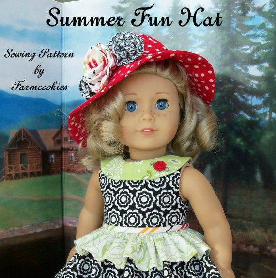 """PRINTED Sewing Pattern Fits American Girl Dolls:  Summer Fun  HAT ONLY / Sewing Pattern for 18"""" Dolls"""