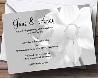Grey White Daffodil Personalised Wedding Invitations