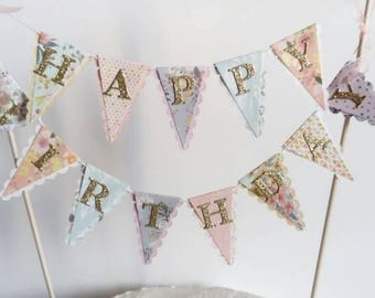 Happy Birthday Cake Bunting - Boho Floral Cake Topper - Purple, Aqua, Peach