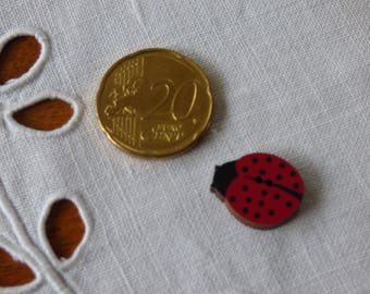 Wooden Ladybug button
