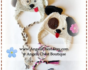 Crochet PUPPY DOG Hat PDF Pattern Sizes Newborn to Adult Boutique Design - No. 33 by AngelsChest