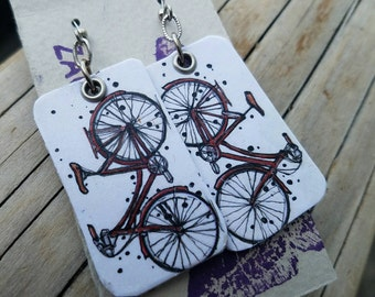 Hand-painted Red Bicycle Charm Earrings - silver - Portland Oregon