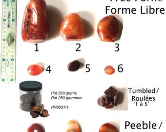 Carnelian from Madagascar free /Formes, pebbles or rolled