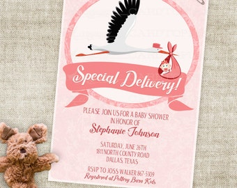 Storch und Baby Mädchen Baby-Duscheeinladung mit rosa Rosen und Banner Digital druckbare Datei mit professioneller Druck-Option - Cardtopia