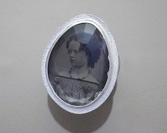 Sterling Silver Ring with Antique Tintype of Young Girl Under Rock Crystal Quartz