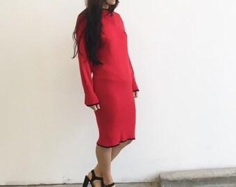 Vintage 80s L'Ultima Red Knit Midi Dress - Ribbed Dress - Black Detail Trim - Sweater Dress - Size Small or Medium