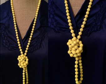 Vintage 1960's Long Yellow Glass Beaded Necklace