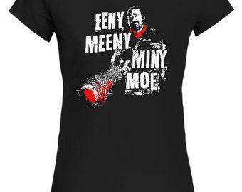 Negan Lucille Walking Dead Eeny Meeny Miny Moe Zombie Ladies Fit T Shirt Fan Gift Idea