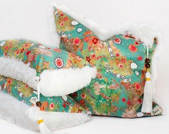 Colorful boho feather art throw pillows bohemian shag pillows decorative pillows modern gypsy pillows home decor art large accent pillows