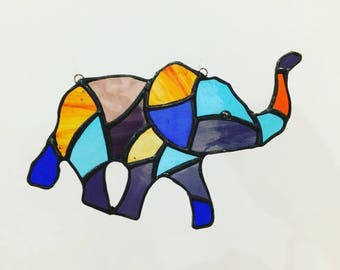 Stained Glass Elephant, good luck Symbol, Elephant Sun Catcher