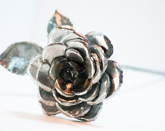 Gift for 11th anniversary - Eleventh Anniversary Steel Rose