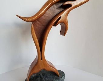 Handmade Wood Dolphin Sculpture