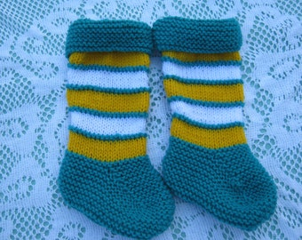 Beautiful Baby Green, Yellow and White Socks Hand Knitted for a Baby