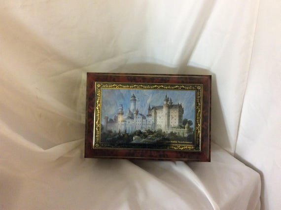 Vintage large limited edition German collectors biscuit cookie tin, fairy tale mid evil castle designed tin, tin collectible, large hinged