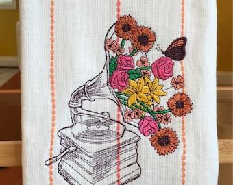 Floraphone- floral gramophone fringed tea towel