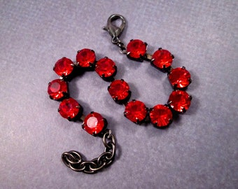 Ruby Rhinestone Bracelet, Red Glass Rhinestone and Gunmetal Silver Beaded Bracelet, FREE Shipping U.S.
