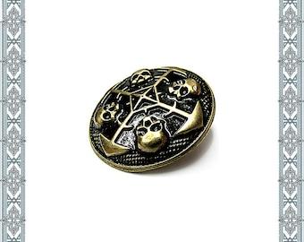 4 Decorative rivets Circle of skulls gold plated rivet Zierniete skull Nordic rivets Concho Rivet Dog Necklace Antique Accessories