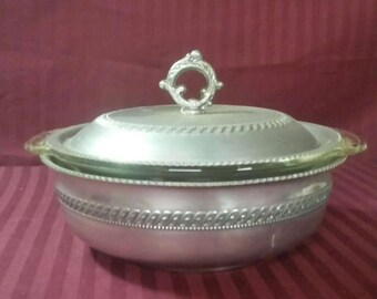 Vintage Fire-King divided casserole bowl in hammered aluminum lidded bowl. Nasco,  Italy.
