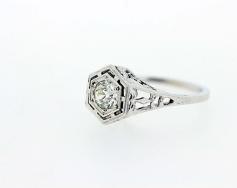 18K Gold Diamond Solitaire Ring