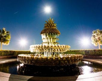 Pineapple Fountain Iced and a Full Moon, Charleston Snow Days