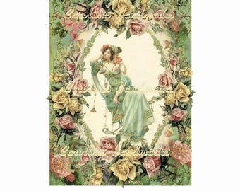 "Nouvear Lady Collage Cotton Fabric Quilt Block (1) @ 5X7"" on 8.5X11"" Sheet"