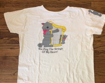 Vintage 1980's womens cute cat novelty tshirt/nightgown. Size XL