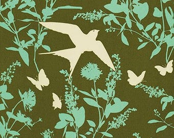 Swallow Study in Forest - Bungalow by Joel Dewberry - CANVAS fabric by the Half-Yard or Full Yard