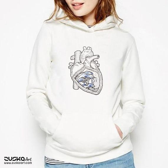 Ocean heart | Unisex Heavy Blend Hooded Sweatshirt | Graphic Hoodie | Pen and Ink art | Tattoo Style| Ocean anatomical heart |ZuskaArt