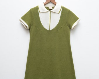 Vintage Olive Green Schoolgirl Dress | Green Vintage Dress | Cute Ladies Vintage Dress | Small